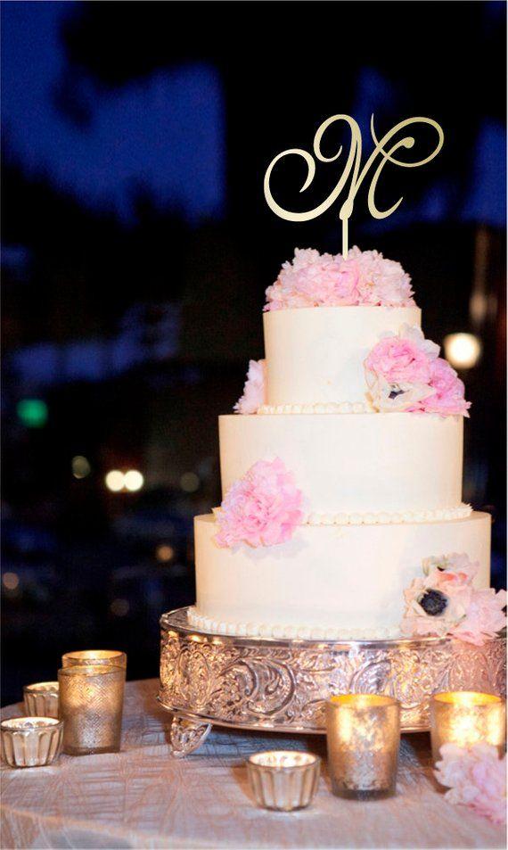 Letter M Cake Topper Gold Initial Cake Topper Wedding Cake