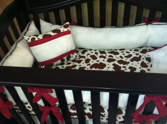 Cow Print Crib Bedding Custom Western Brown And White