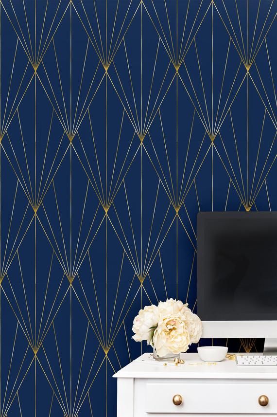 Navy Gold Peel And Stick Wallpaper Self Adhesive Geometric Etsy In 2020 Blue Accent Walls Geometric Wallpaper Wallpaper Accent Wall