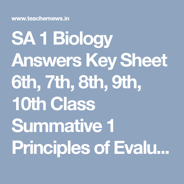 Sa  Biology Answers Key Sheet Th Th Th Th Th Class