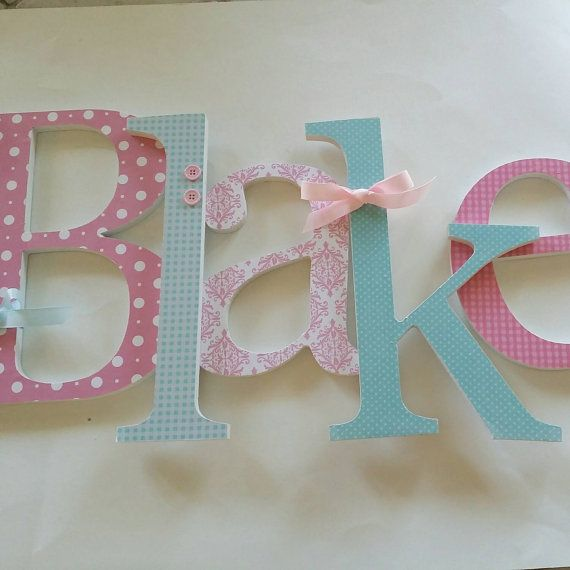 Pink and Light Aqua Blue Nursery Wooden by Woodennurseryletters
