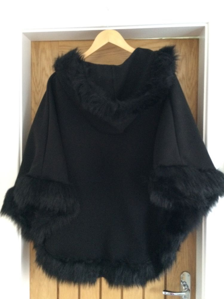 Ladies Black Italian Lana Wool Faux Fur Trimmed Hooded ...