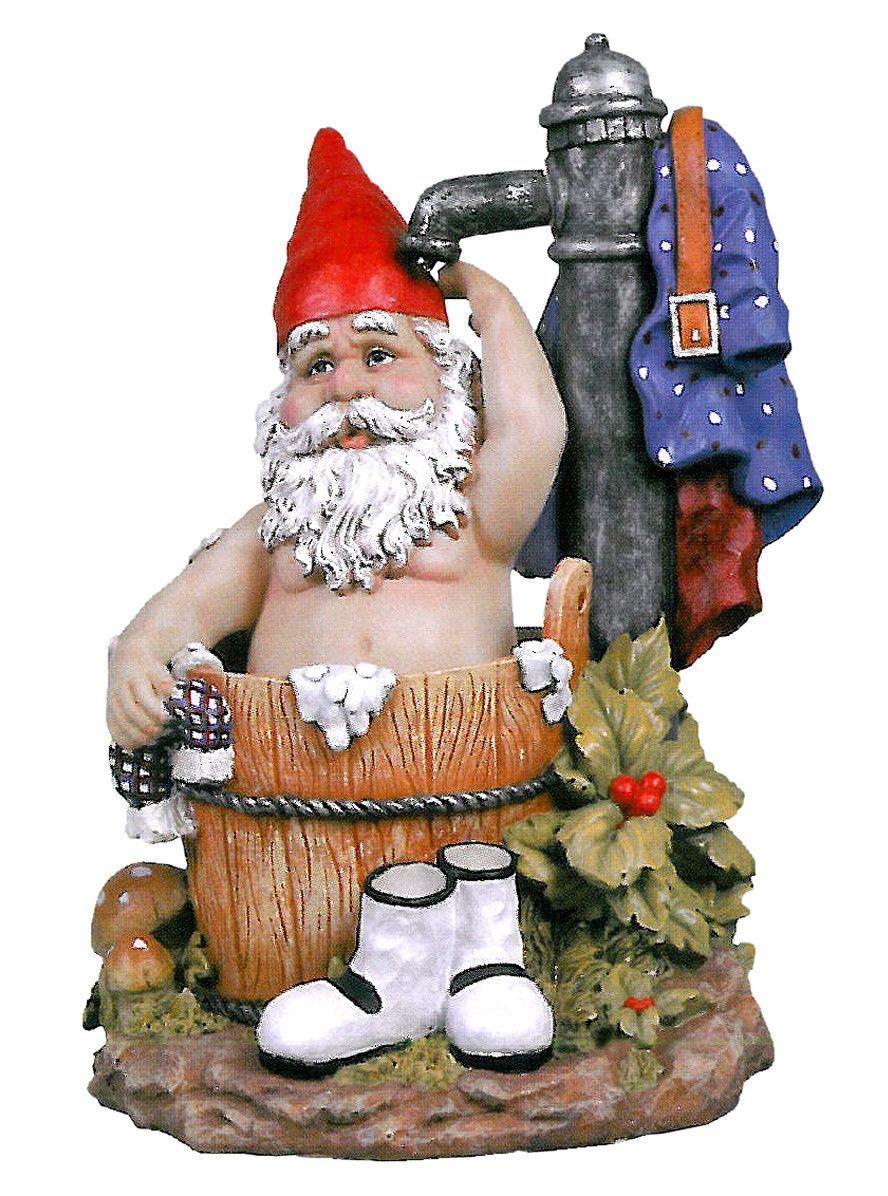 Tubby the Bathing Garden Gnome Statue Gardens Design and Sprays