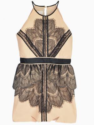 Halter Sleeveless Dress with Eyelash Lace Overlay