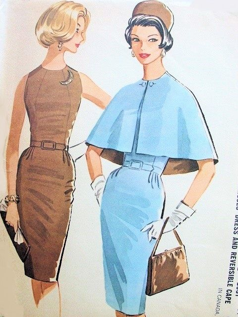 1960s Slim Figure Molding Dress and Reversible Cape Pattern Beautiful Cocktail After 5 Sheath Dress McCalls 6314 Vintage Sewing Pattern Mad Men Era Bust 36 FACTORY FOLDED