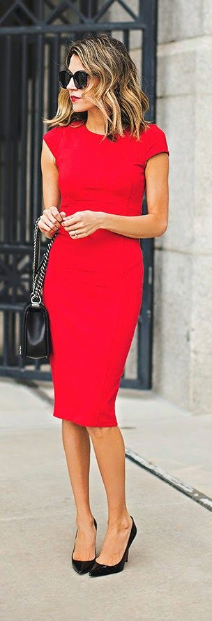 VALENTINE'S RED - Valentine's Red Knee-length Dress + Christian Louboutin Pumps + Hair Waves / Hello Fashion