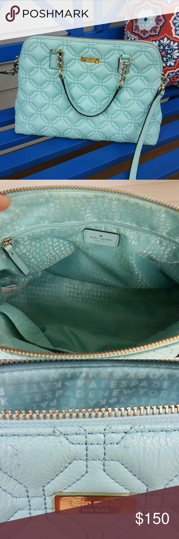 Make Offer Beautiful Kate Spade Bag Euc Closure Zip And Chains Katespade Small Rachelle Astor Court Navy Authentic Style Color Hydrangea Blue