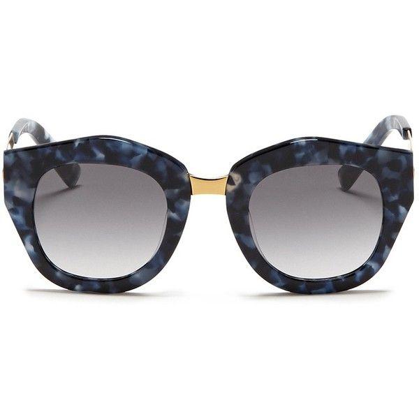 Spektre 'Mon Amour' shell effect acetate angular sunglasses ($175) ❤ liked on Polyvore featuring accessories, eyewear, sunglasses, blue, retro style sunglasses, acetate glasses, shell glasses, blue glasses and retro sunglasses