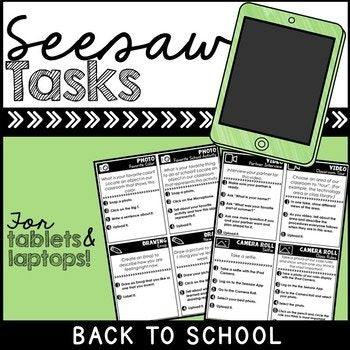 Seesaw Portfolio Task Cards Back To School Task cards
