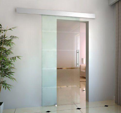 homcom® glasschiebetür schiebetür 2050x900x8 mm tür glastür, Wohnzimmer