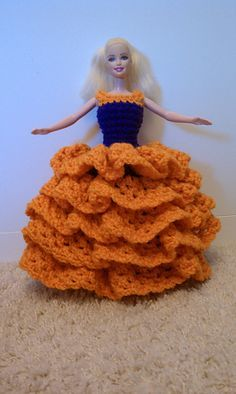 Crocheted Barbie Slip On Dress With Puffy Skirt And Ruffles By Dani