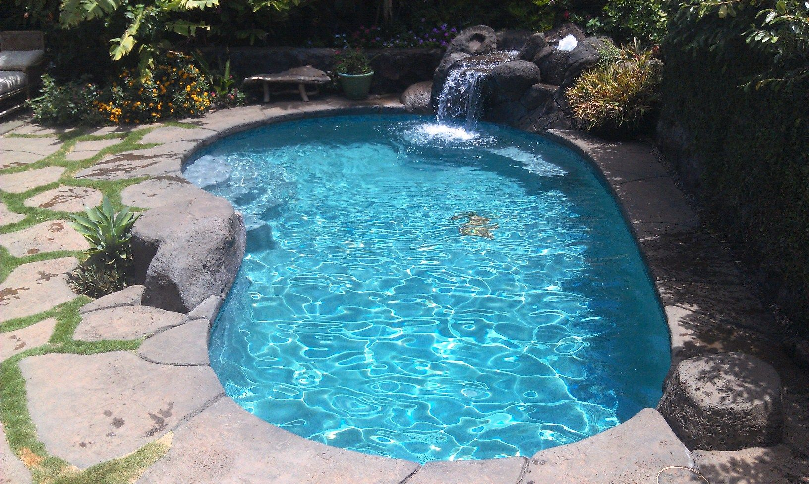 Faux Rock Waterfall Coping And Decking Step Stones Desert Sage