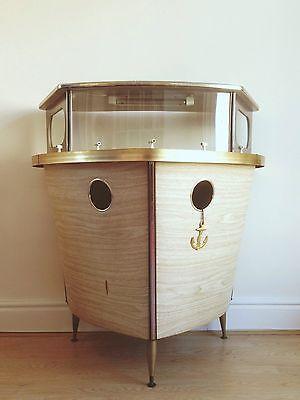 Retro 1950u0027s Fifties 50s/60s Vintage Mini Bar Boat Shaped Cocktail Bar  Nautical