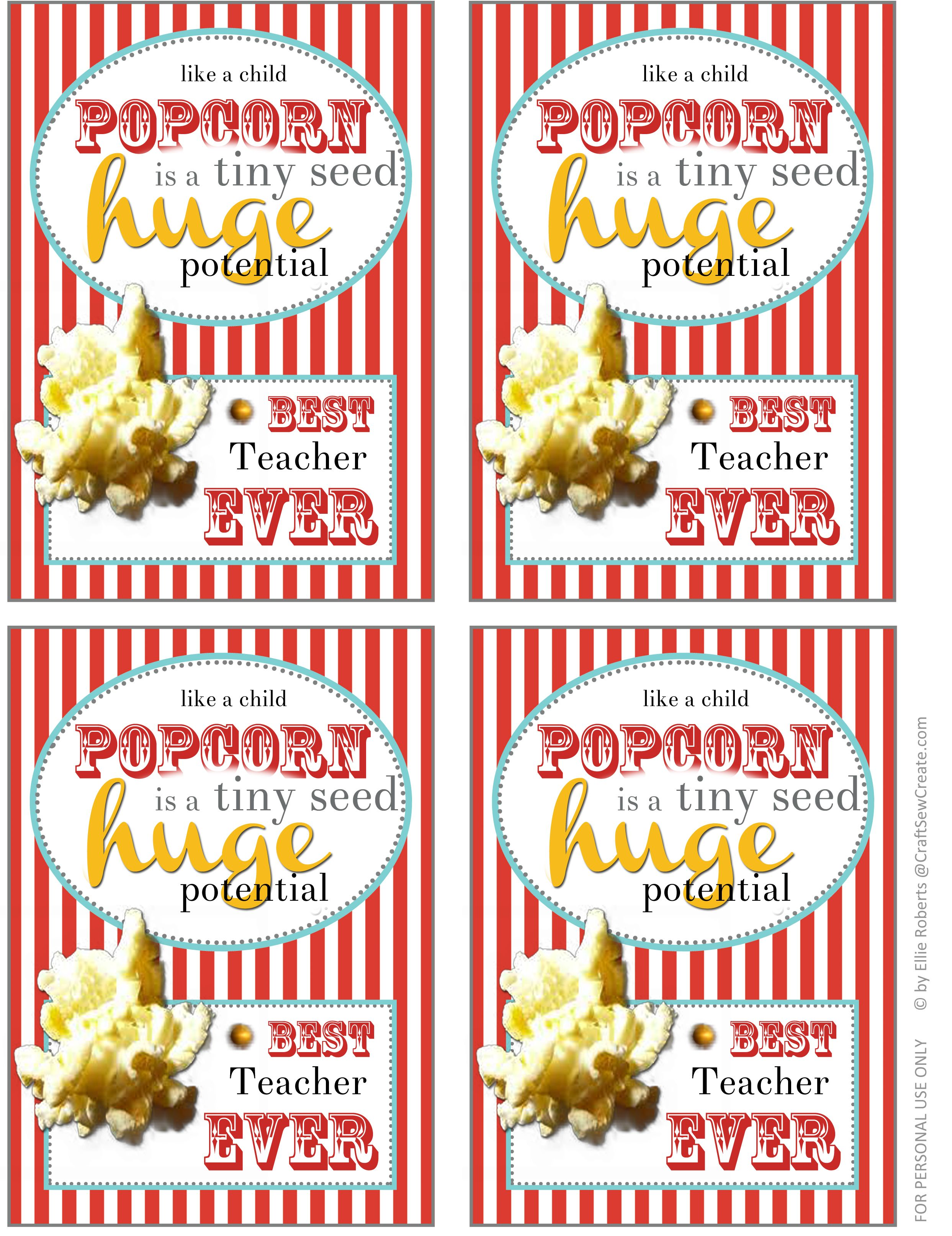 picture relating to Popcorn Teacher Appreciation Printable called thank your self for Popcorn Printable for basic instructors