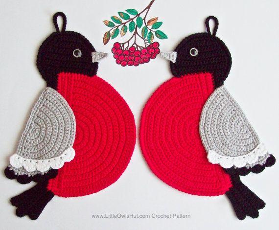 030 Bullfinch potholder decor - Amigurumi Crochet Pattern PDF file ...