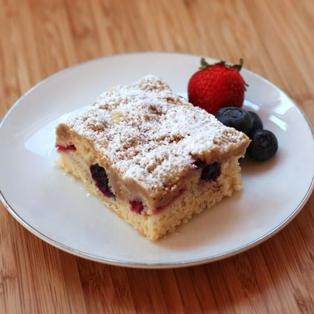 Red, White & Blueberry Crumb Cake