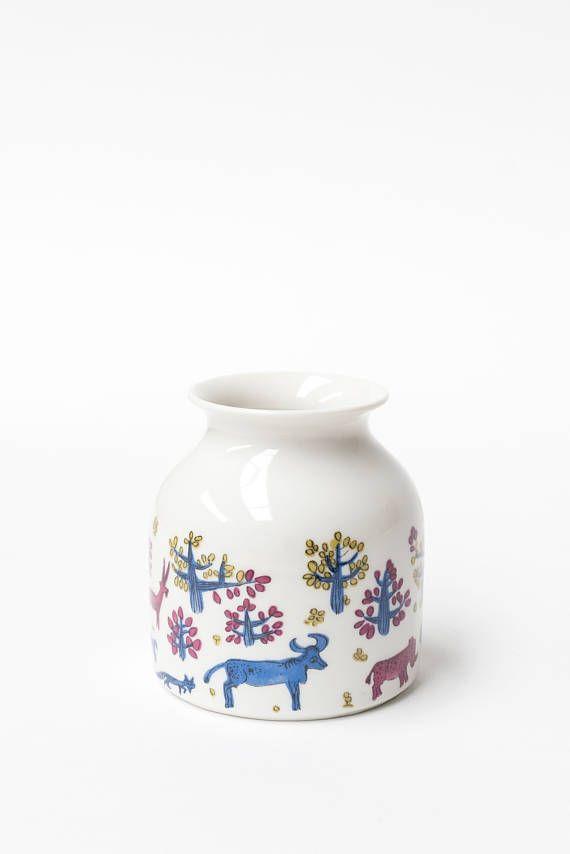 Wallendorf Germany, Porcelain Small Vase or Display Jar, Zoo