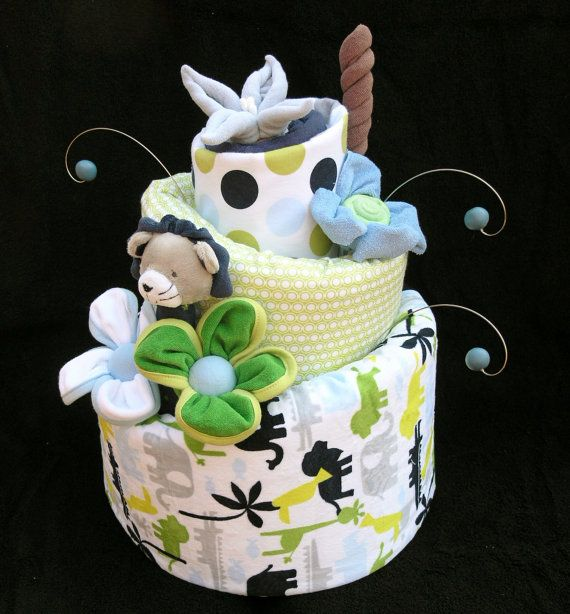 Baby Boy Safari Diaper Cake Made to Order by babyblossomco on Etsy, $140.00