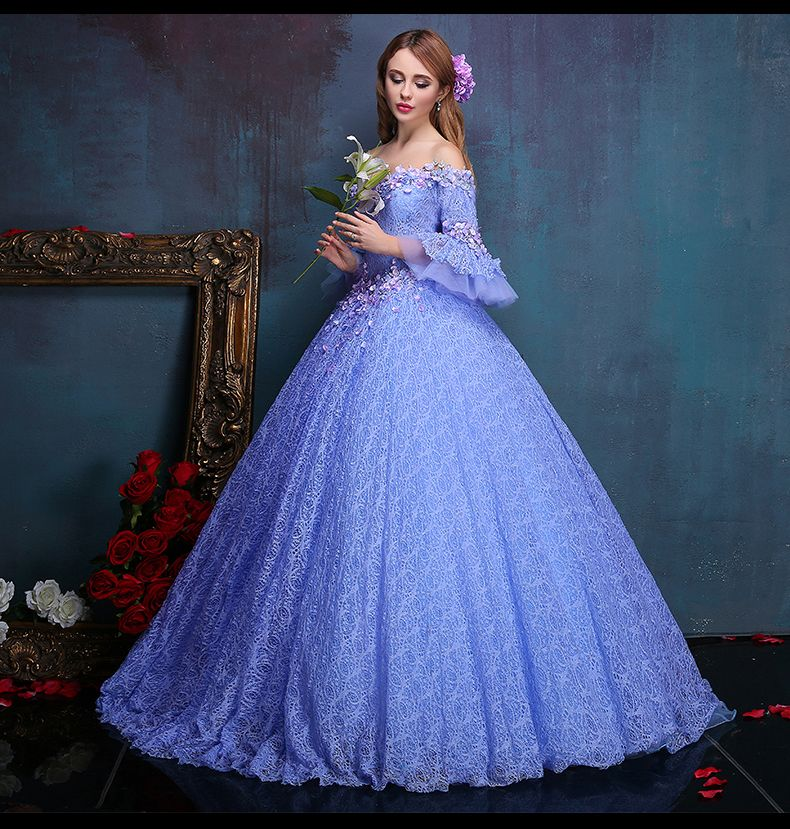 Celtic Wedding Dresses White Pale Blue Medieval Bridal: 100%real Flower Embroidery Beading Light Purple Lace Ball