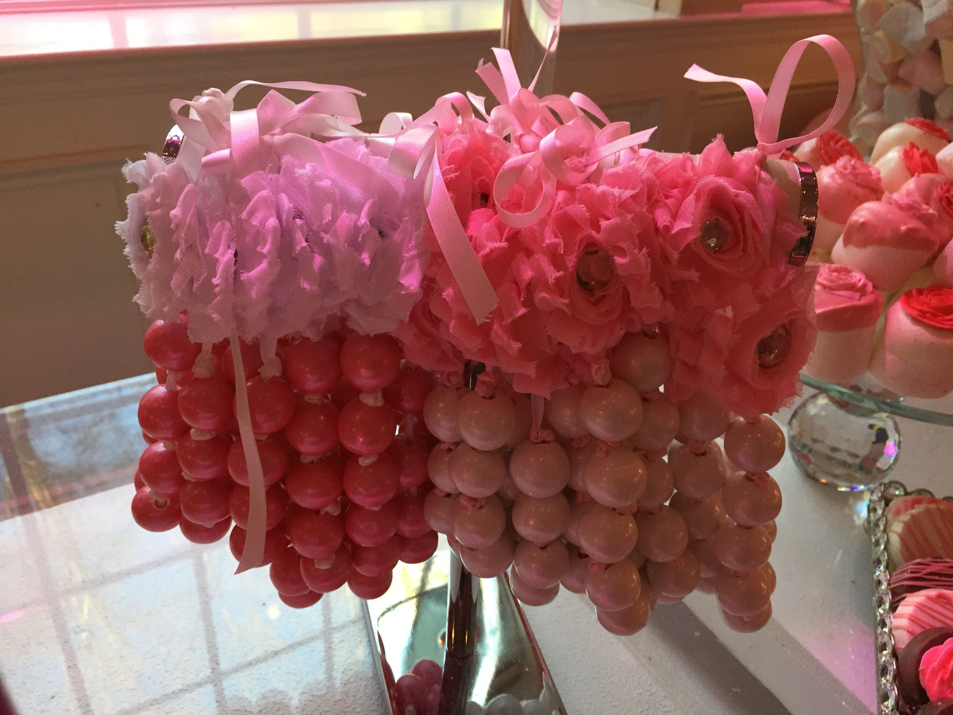 Kennedy Super Sweet Sixteen Candy Table Buffet Dessert Table Pink Decor Pink Ombre Gumball Nexklaces Pink Ombre Sweet 16 Pink
