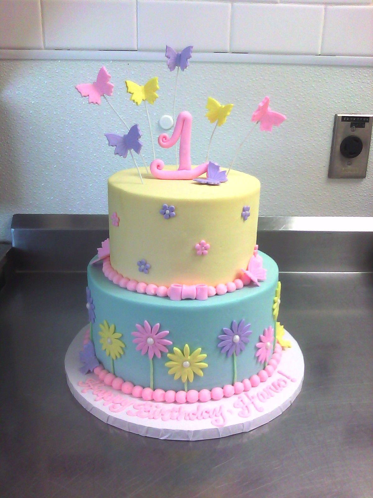1st Birthday Cake with Butterflies & Flowers 1st