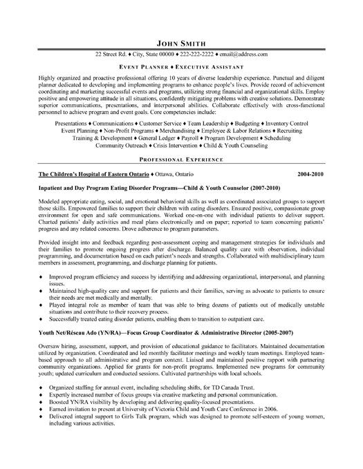 click here to this event planner resume template