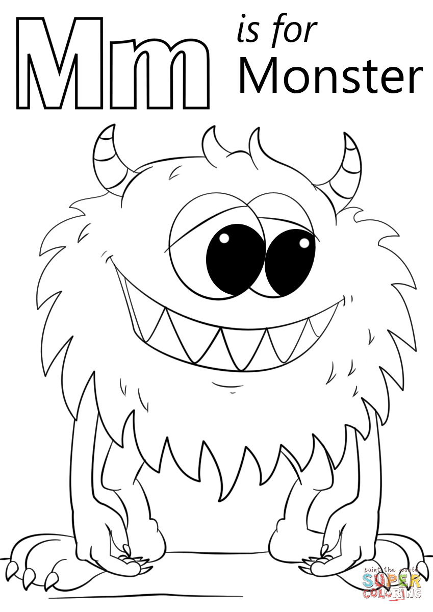 Letter m is for monster coloring page from letter m category select from 27516 printable crafts of cartoons nature animals bible and many more