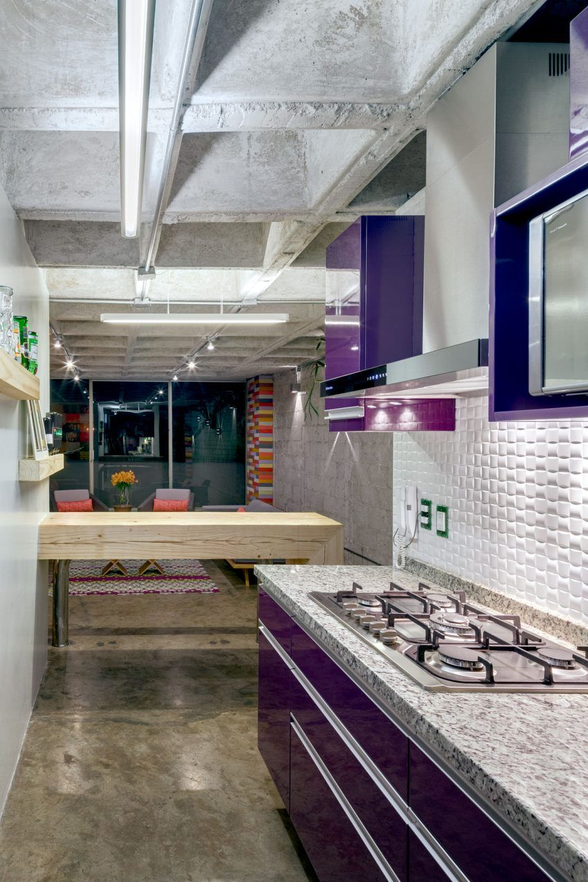 purple kitchen apartment. Purple kitchen  Hegel Apartment by Arquitectura en Movimiento Workshop Designs a Colorful in