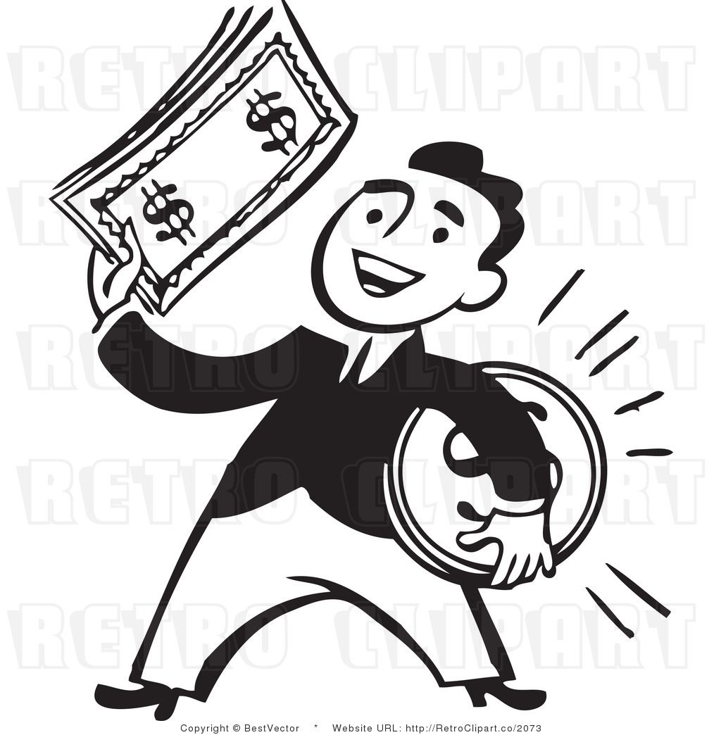 Retro Clip Art Of A Smiling Businessman Holding A Large