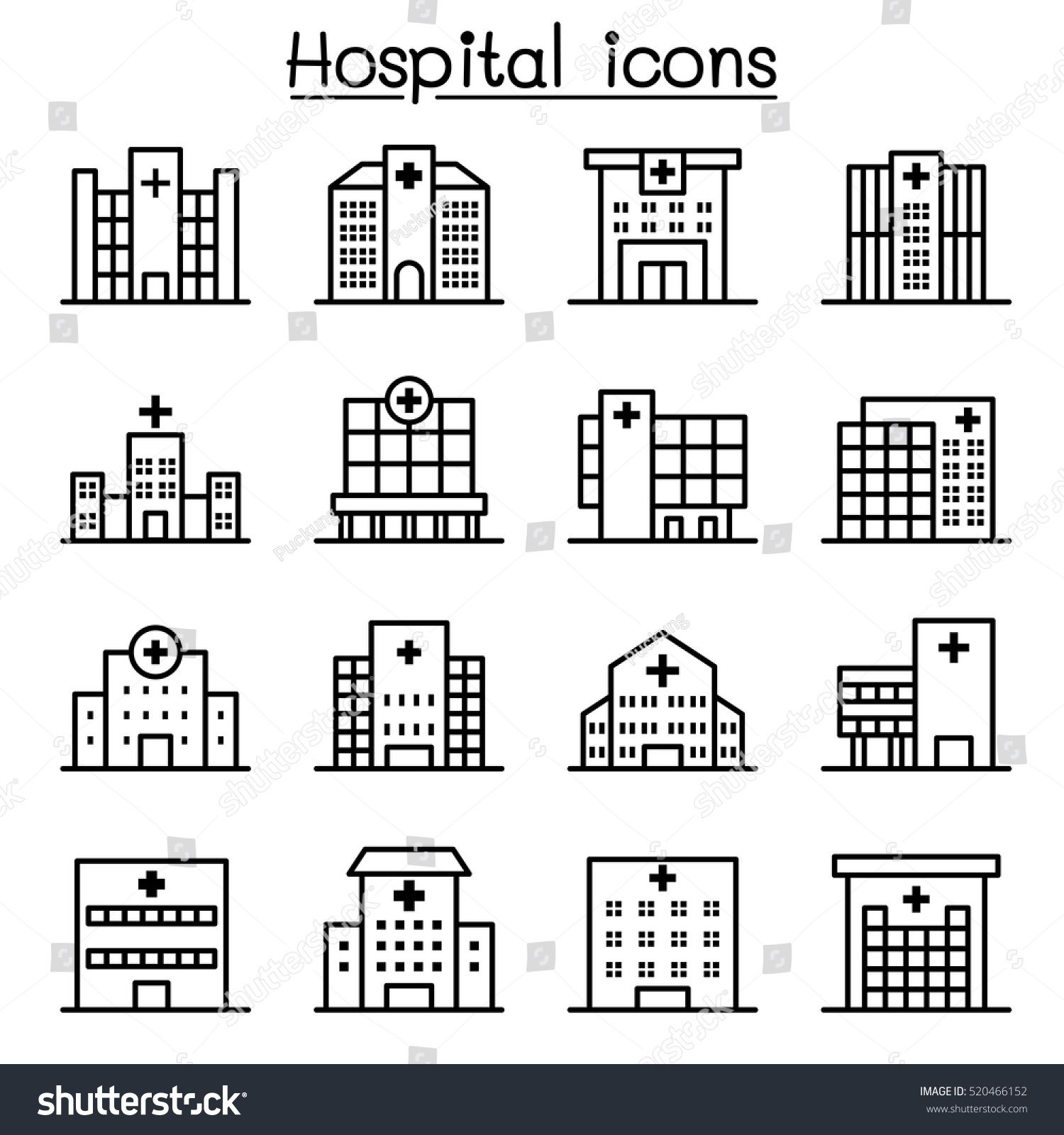 Hospital Building Icon Set In Thin Line Style Ad Affiliate Icon Building Hospital Set Hospital Icon Building Icon Wedding Vector Icons