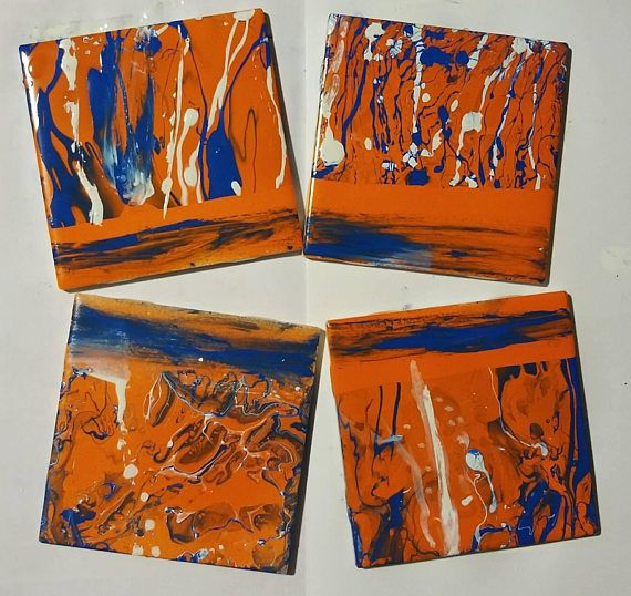 Hand Painted Orange And Blue Coasters Https Www Etsy
