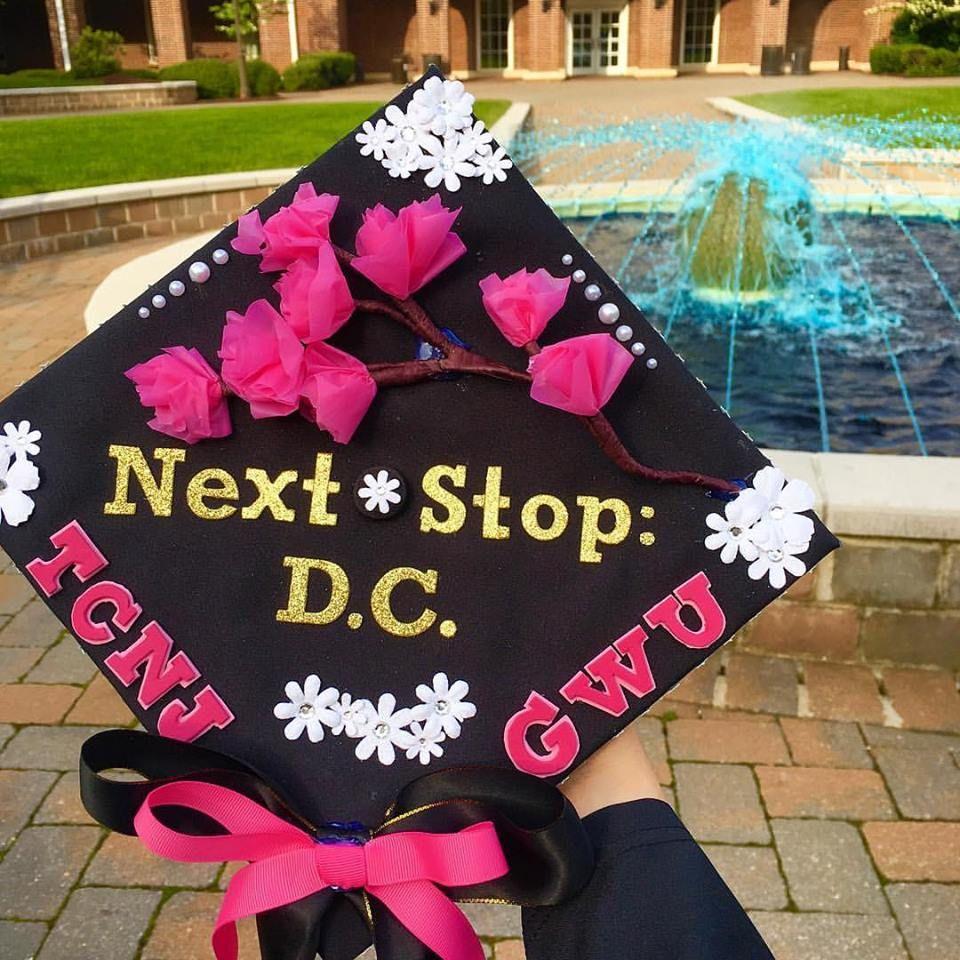 Grad Cap Graduation Cap Tcnj Gw Gwu Dc Cherryblossoms The College Of New Jersey And Ge Graduation Cap Decoration Cap Decorations Graduation Cap Designs