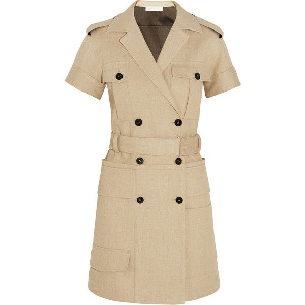 Victoria Beckham Jute and silk-blend canvas mini dress (38.510 RUB) ❤ liked on Polyvore featuring dresses, store, victoria beckham, double breasted dress, mini dress, safari dresses and brown dresses