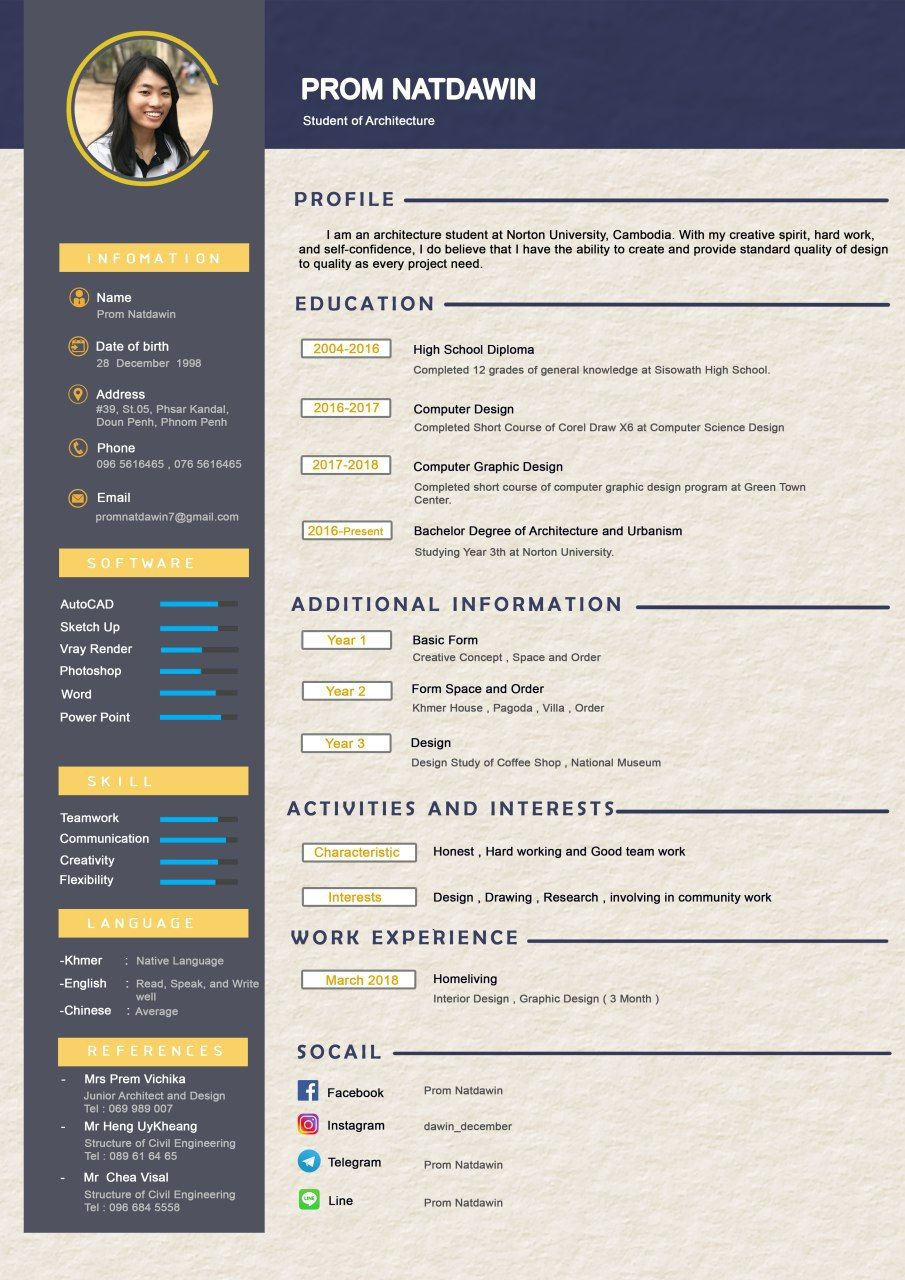 Cv for architect with images architect student