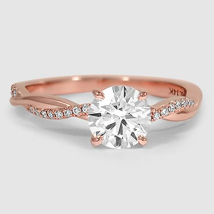 14k Rose Gold Petite Twisted Vine Diamond Ring Wedding