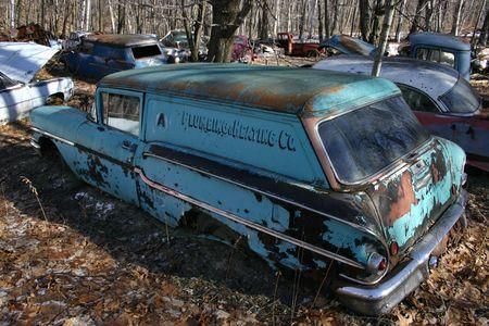 One Of The Gals Upstairs Had An Uncle Who Wanted To Start An Auto Repair Business Back In The 1960s Or So Apparently His Abandoned Cars Cars Trucks Junkyard