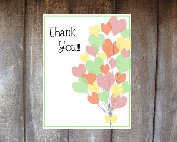 Thank You Card Heart Balloons Birthday Blank Inside DIY