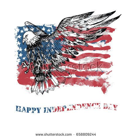 Vector happy independence day greeting card american national vector happy independence day greeting card american national holiday hand drawn illustration usa m4hsunfo