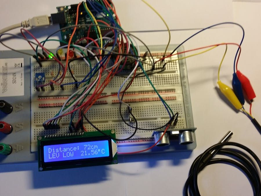 Ultrasonic Sensor With Alarm Lcd And Temperature