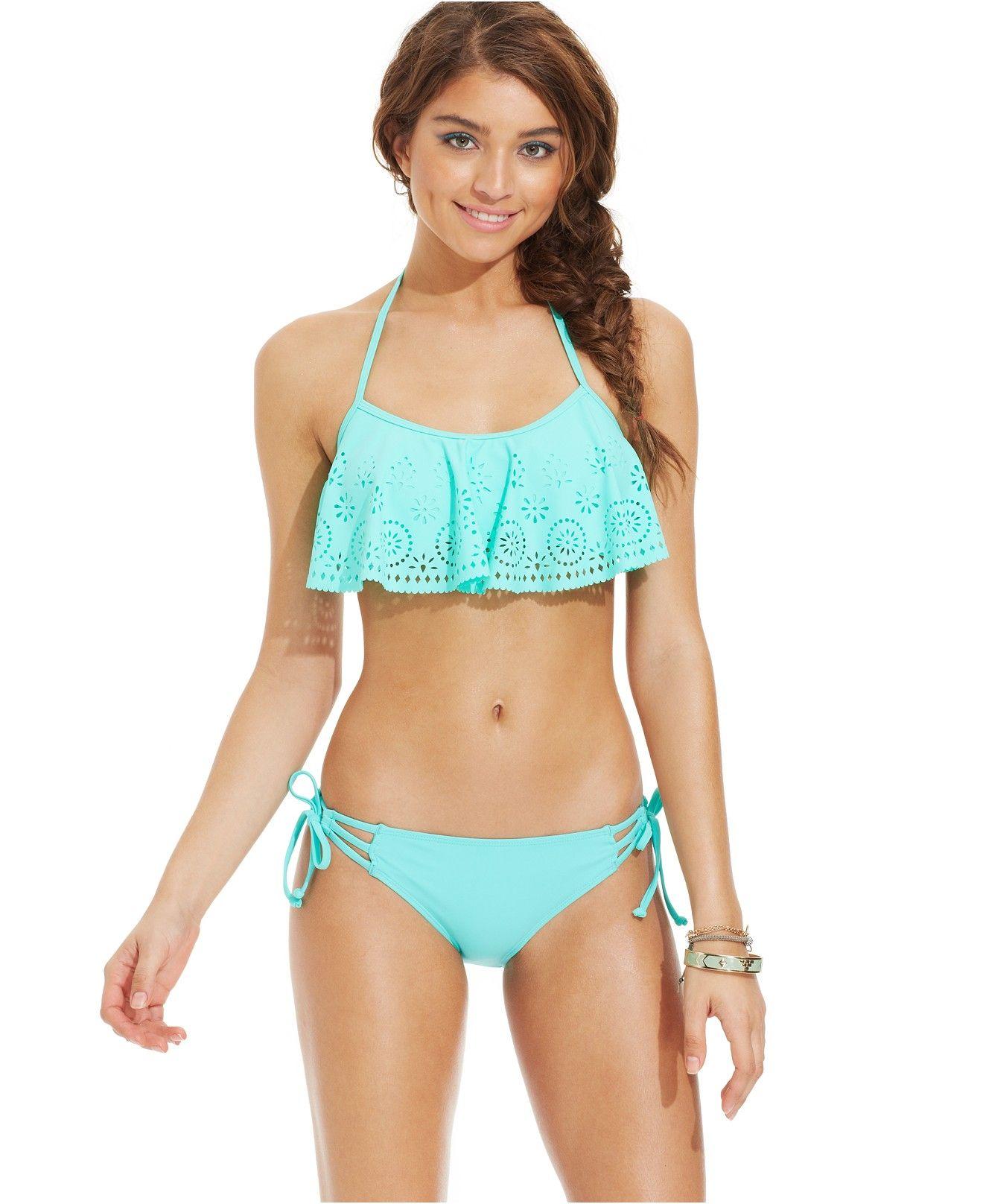 359fc3fe9da5c California Waves Laser-Cut Flounce Bikini Top & Side-Tie Bottom - Juniors  Swimwear - Macy's