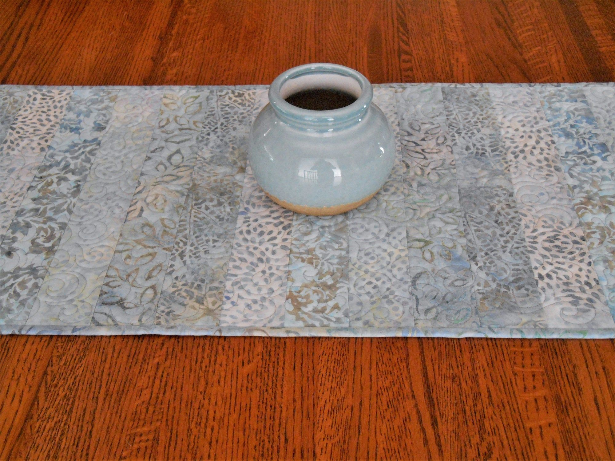 Blue Quilted Table Runner Bedroom