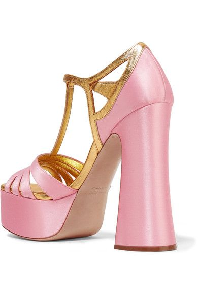 Heel measures approximately 135mm/ 5.5 inches with a 40mm/ 1.5 inches  platform Pastel-pink satin, gold leather  Buckle-fastening ankle strap Made in Italy