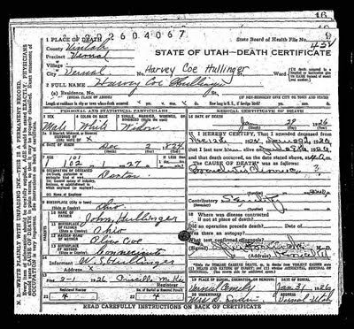 Dr Harvey Coe Hullinger Died January 29 1926 At The Age Of 101 Death Certificate Family History Family