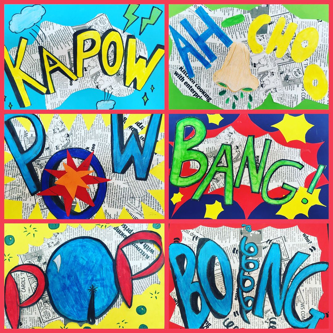 Pop Art Words Inspired By Roy Lichtenstein Grade 6
