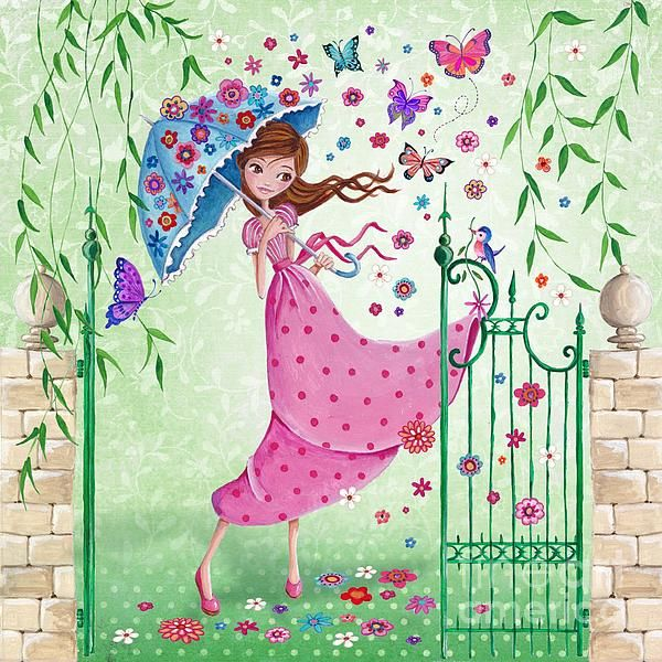 Girl carrying umbrella on windy day ~ gate ! butterflies ~ young girl ~ © Cartita Design - Flying Flowers