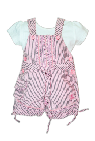 A cool pink dungaree from little kangaroos paired with a half sleeve cotton t-shirt. This dungaree is made from 100% cotton material and will be very much comfortable for your baby.