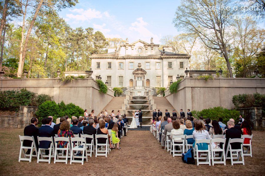 amazing wedding, outdoor wedding ceremony, spring wedding, swan house wedding, atlanta venues, atlanta wedding, folding chairs, seated guests, saying vows, bride and groom, wedding photographer :: Kelsey + Ian's Wedding at the Swan House in the Atlanta History Center :: with Nikki