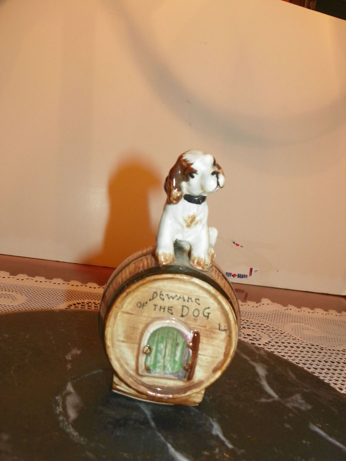 Vtg Beware Of The Dog Porcelain Bank Guarding Whiskey Barrel No Chips Cracks With Images Whiskey Barrel Beware Of Dog Dogs