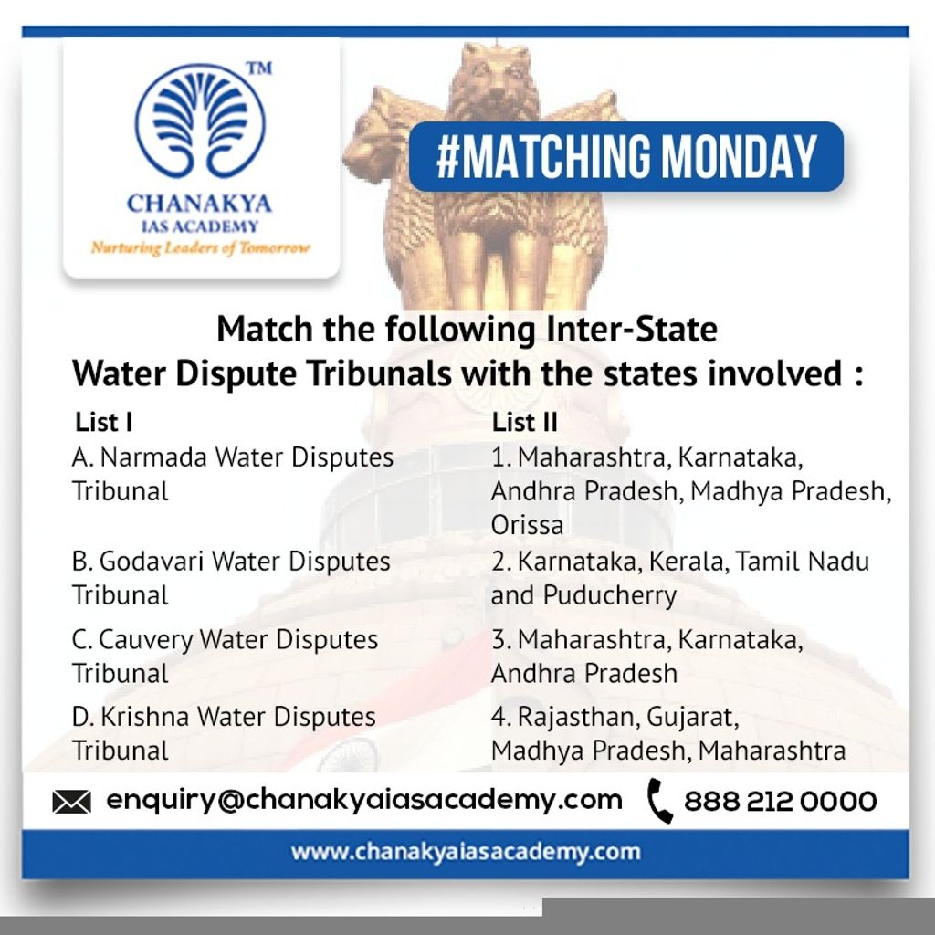 MatchingMonday Match List-I with List-II & select the correct answer