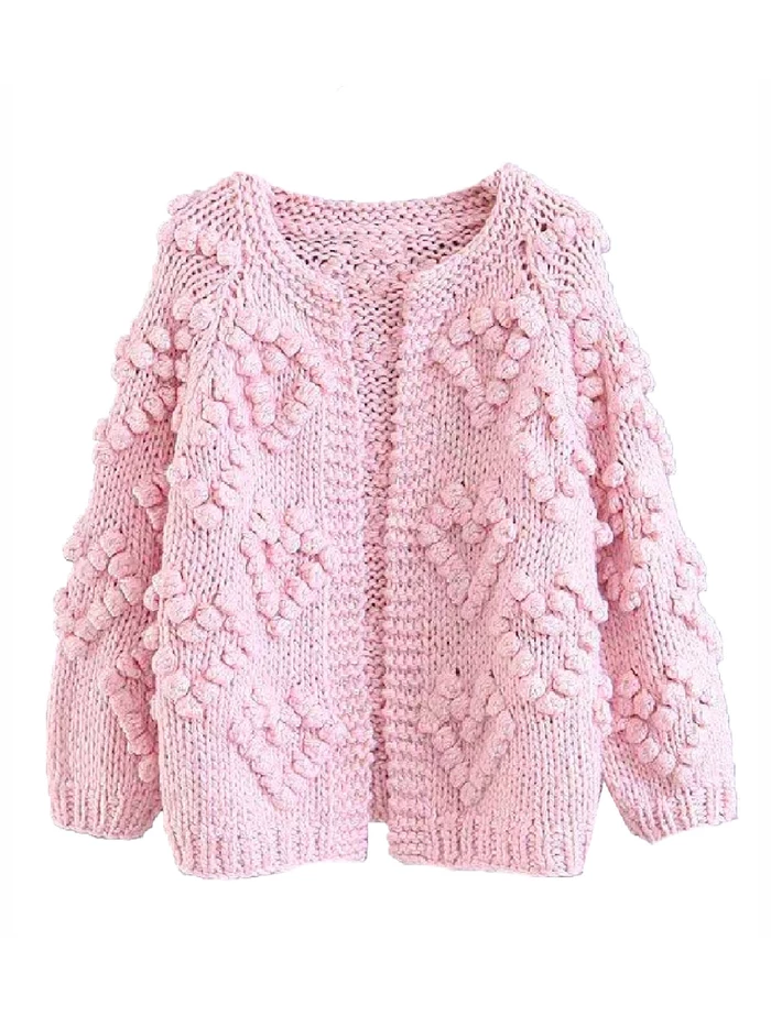 Kelli Pom Pom Chunky Knit Open Cardigan 3 Colors Knitting Hot Pink Cardigan Hand Knitting